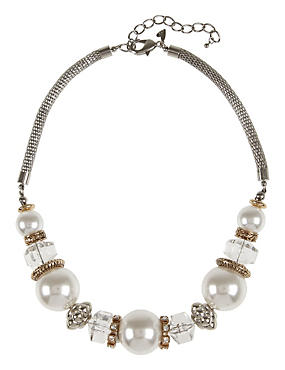 Metallic Pearl Effect Diamanté Cubic Necklace