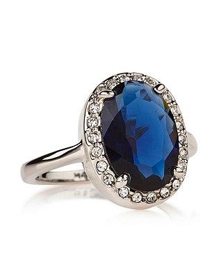 Platinum Plated Diamanté Regal Ring, BLUE MIX, catlanding