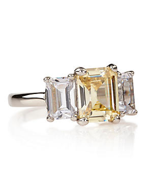 Platinum Plated Triple Baguette Stone Ring, YELLOW, catlanding