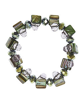 Multi-Faceted Bead & Shell Twist Stretch Bracelet