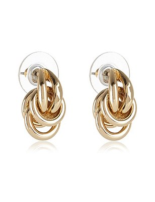 Gold Plated Large Knot Stud Earrings, , catlanding