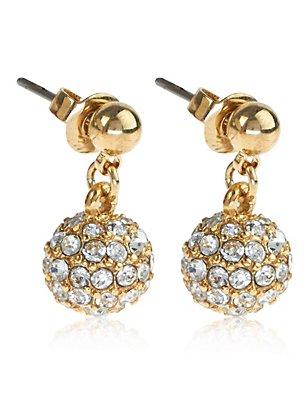 Gold Plated Diamanté Snowball Drop Earrings, , catlanding