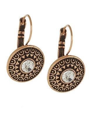 Diamanté Etched Disc Drop Earrings, , catlanding