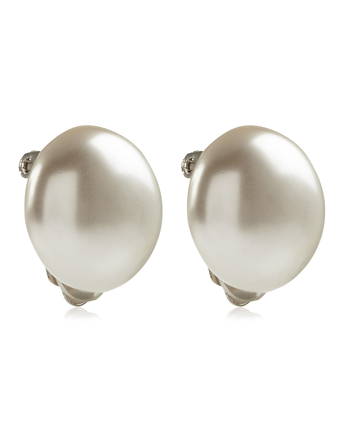 Pearl Effect Round Clipon Earrings