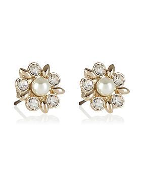 Pearl Effect Diamanté Stud Earrings, , catlanding