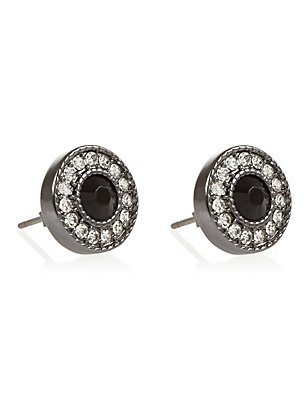 Circle Stone Diamanté Stud Earrings, , catlanding