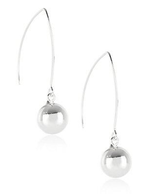 Silver Plated Floating Ball Drop Earrings, , catlanding