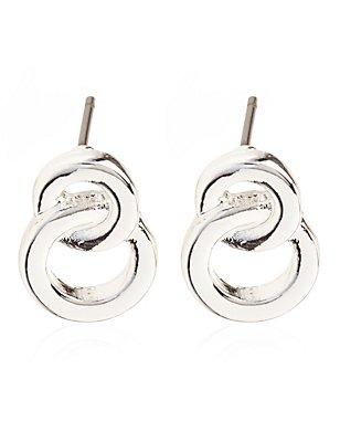 Silver Plated Figure Stud Earrings, , catlanding