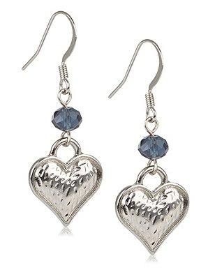 Hammered Heart Drop Earrings, BLUE/SILVER, catlanding