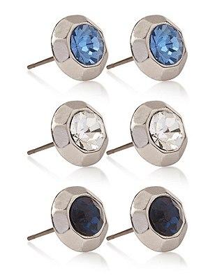 Diamanté Facet Stud Earrings Set, , catlanding