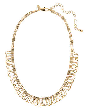 Gold Plated Lace Ball Chain Collar Necklace, , catlanding