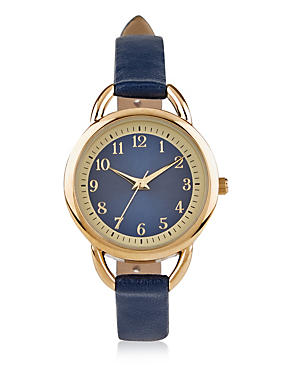 Round Face Strap Watch, BLUE MIX, catlanding