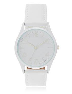 Round Face Analogue Strap Watch, WHITE, catlanding