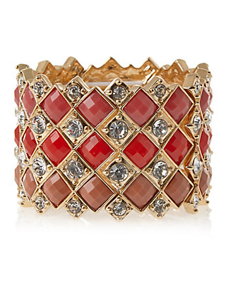 Multi-Faceted Stone & Diamanté Stretch Bracelet Clothing