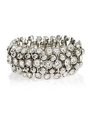 Diamanté Sparkle Gem Stretch Bracelet, , catlanding