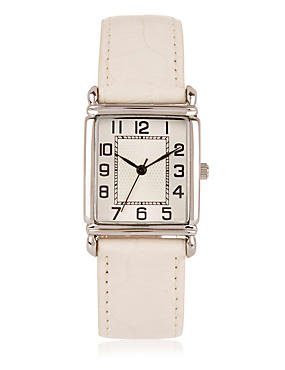 Rectangular Face Watch, CREAM MIX, catlanding