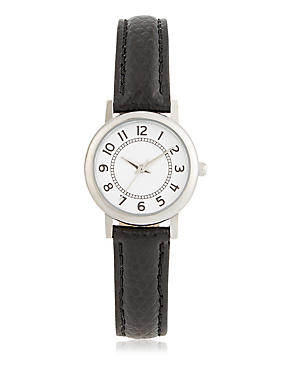 Simple Round Face Mini Watch, BLACK MIX, catlanding