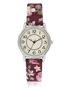 Round Face Botanical Floral Strap Watch, RASPBERRY MIX, catlanding