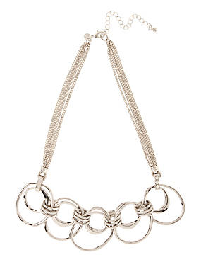 Multi-Row Connected Rings Collar Necklace, , catlanding