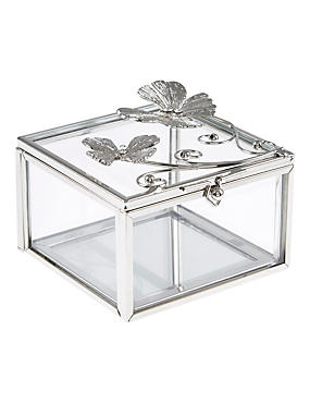 Flutter Metal Diamanté Butterfly Jewellery Box, , catlanding