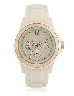 Round Face Diamanté Analogue Sports Watch, BEIGE MIX, catlanding