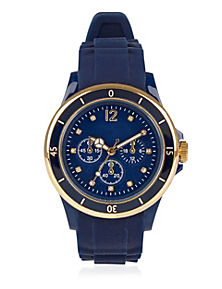 Blue Mix Round Face Diamanté Analogue Sports Watch