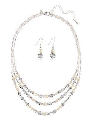Pearl Effect Multi-Row Assorted Luxurious Necklace & Earrings Set, , catlanding