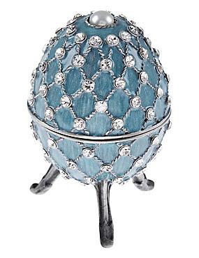 Strassbesetztes Schmuckkästchen im Gustav-Fabergé-Ei-Design, BLAU BLASS, catlanding