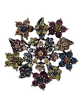 Diamanté Cluster Floral Brooch, , catlanding