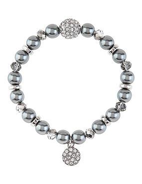 Bracelet extensible à fausses perles et breloque, orné de strass, , catlanding