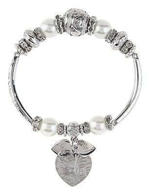 Pearl Effect Diamanté Bracelet, , catlanding