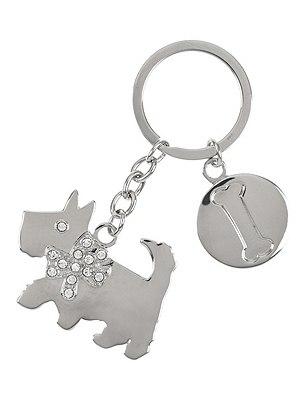 Diamanté Dog Keyring, , catlanding