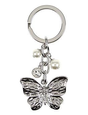 Diamanté Butterfly Keyring, , catlanding