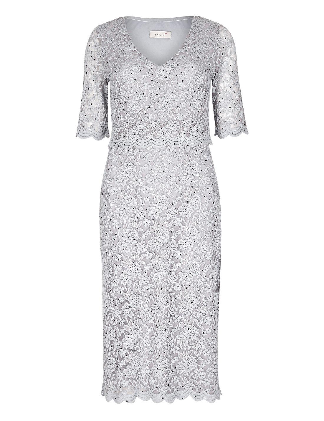 Per Una Black Dress Part - 17: Double Layered Scallop Floral Lace Dress