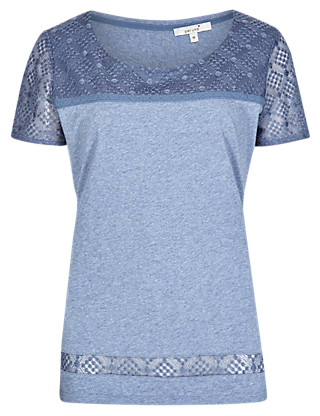 Pure Cotton Embroidered Yoke T-Shirt Clothing