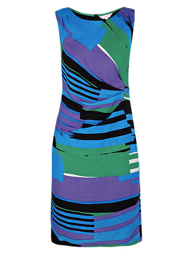 Linen Blend Abstract Striped Shift Dress Clothing