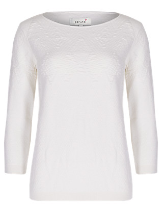 Pure Cotton Diamond Textured Cropped Jumper Clothing