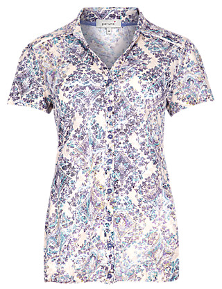 Diamond & Floral Bubble Hem Blouse Clothing