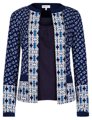 Tile Print Jacket with Camisole Clothing