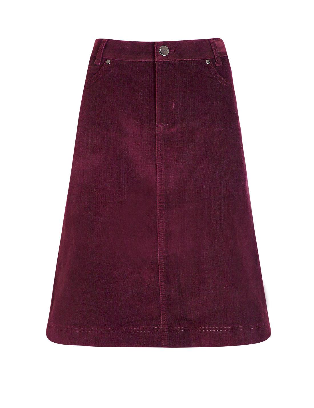 Cotton Rich Corduroy A-Line Skirt | M&S