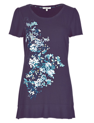 Abstract Floral Placement Frill Hem Tunic Clothing