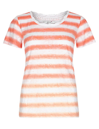 Ombre Striped Butterfly Burnout T-Shirt Clothing