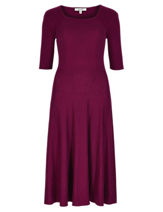 Fit & Flare Knitted Dress with Wool Clothing