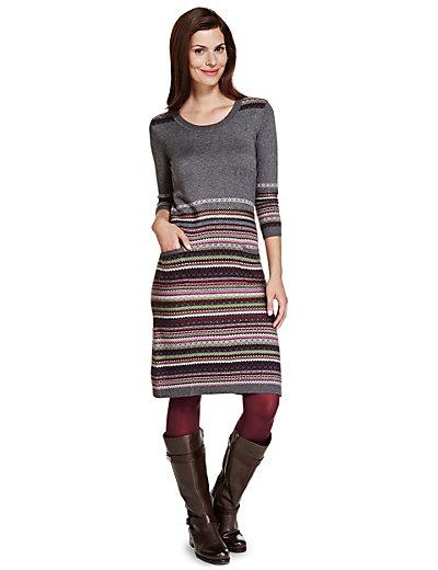 Fair Isle 3/4 Sleeve Knitted Tunic Dress with Wool | M&S