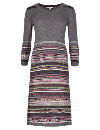 Fair Isle 3/4 Sleeve Knitted Tunic Dress with Wool Clothing