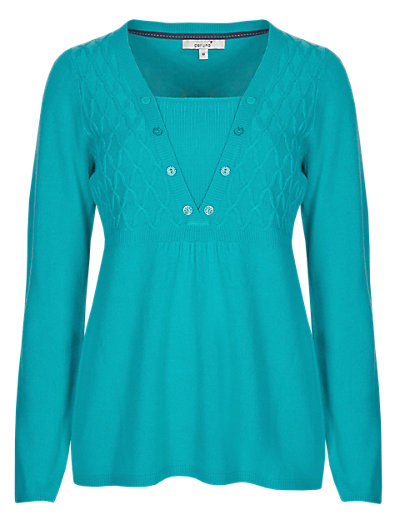 Cable V-Neck Jumper Clothing