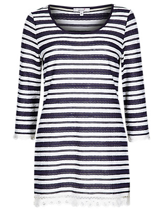 Lace Trim Striped Tunic Clothing