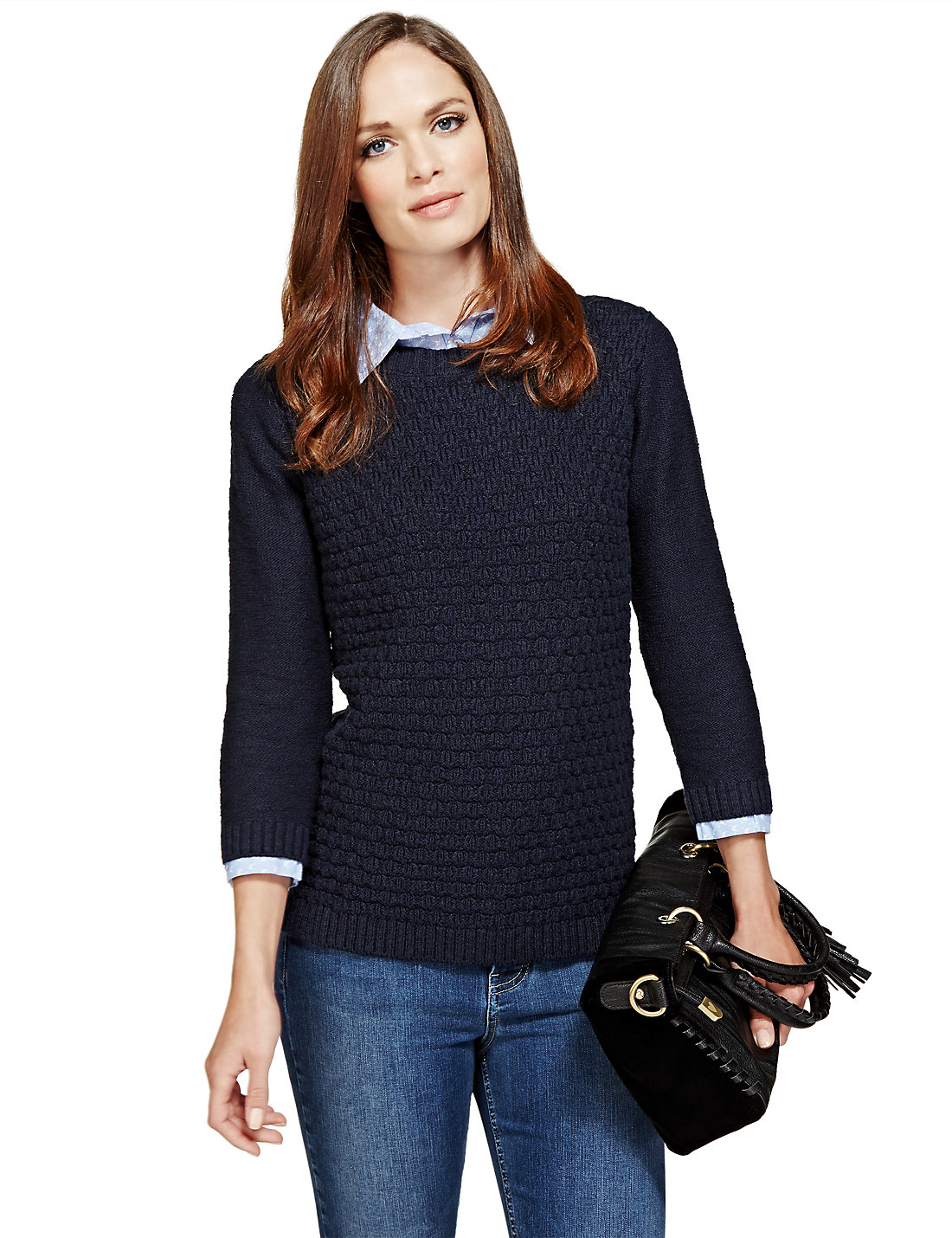 3/4 Sleeve Stitched Mock Collar Jumper