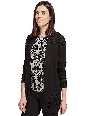 Open Front Textured Cardigan, BLACK, catlanding