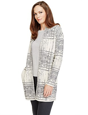 Jacquard Checked Cardigan with Wool, IVORY MIX, catlanding